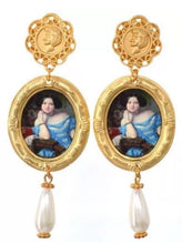 Load image into Gallery viewer, Victorian Glam Portrait Scenic Cameo Pearl Drop Earrings