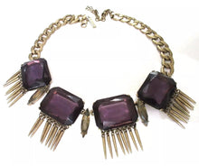 Load image into Gallery viewer, OSCAR DE LA RENTA Gothic Purple Gems with Spiked Fringe Bold Sultry Runway Choker Necklace