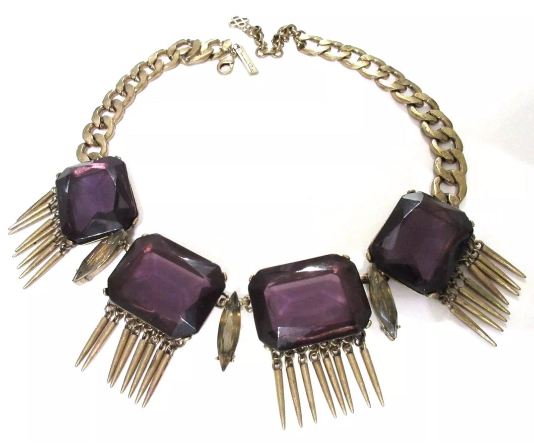 OSCAR DE LA RENTA Gothic Purple Gems with Spiked Fringe Bold Sultry Runway Choker Necklace