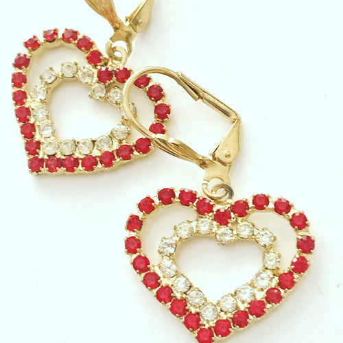 Vintage Red Rhinestone Heart Dangle Earrings