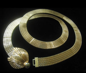 Art Deco Vintage Gold Tone Mesh Bling Belt Or Choker