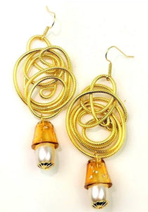 Golden Wirework Amber MURANO Glass Dangle Statement Earrings