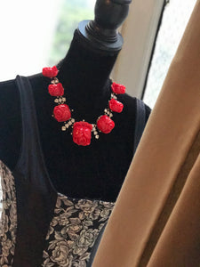 OSCAR DE LA RENTA  Cherry Red Rose Sicily Runway Designer Necklace