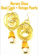 Load image into Gallery viewer, Golden Wirework Amber MURANO Glass Dangle Statement Earrings