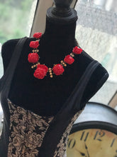 Load image into Gallery viewer, OSCAR DE LA RENTA  Cherry Red Rose Sicily Runway Designer Necklace