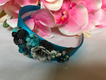 Load image into Gallery viewer, Bright Aqua Silky Satin Floral Head Band by Luna Vintage Designs