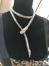 Load image into Gallery viewer, Slinky Snake Silver tone Mesh  Rope Choker with Rhinestone Encrusted  Head & Tail
