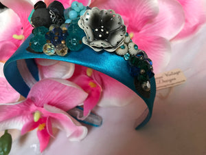 Bright Aqua Silky Satin Floral Head Band by Luna Vintage Designs