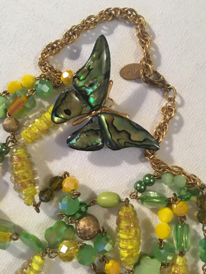 GAY ISBER Canary Yellow Copper Fluss Art Glass Abalone Butterfly Necklace