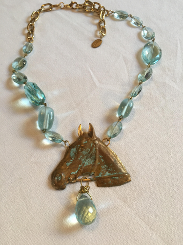 One of a Kind GAY ISBER Aqua Crystal Horse Head Statement Necklace