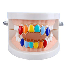 Load image into Gallery viewer, TOPGRILLZ Hip Hop Rainbow Grillz,Top & Bottom Teeth Colorful Vampire Teeth
