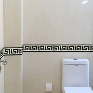 Greek Key Wall Trim -PVC Self adhesive 3D Wallpaper Border Kitchen Bathroom Skirting Line Sticker Removable Modern Tile Wall Sticker Waterproof Decor