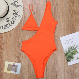 2020 New Solid Halter Bathing Suit High Waist Brazilian One Piece