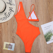 Load image into Gallery viewer, 2020 New Solid Halter Bathing Suit High Waist Brazilian One Piece