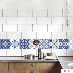 Mediterranean Floral Tile Stickers For Kitchen or Bathroom, DORM DECOR, First Apartment