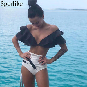 Shoulder Ruffle Bikini, High Waist Glamour Swimwear