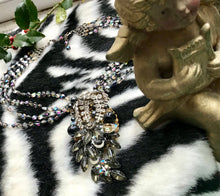 Load image into Gallery viewer, STANLEY HAGLER Snake like Smokey Crystal & Rhinestone Necklace
