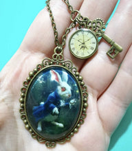 Load image into Gallery viewer, Creepy White Rabbit Dome Cameo Pendant Necklace