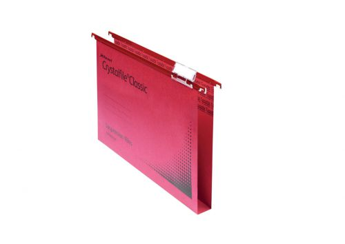 Crystalfile Susp File Reinforced Wide Base 30mm Red BX50