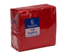 Load image into Gallery viewer, Value Maxima Napkins 2-Ply 330mm x 330mm (Red) (Pack 100)
