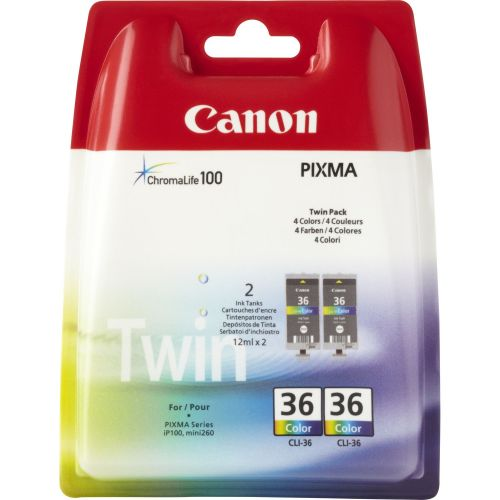 Canon 1511B018 CLI36 Colour Ink 12ml Twinpack