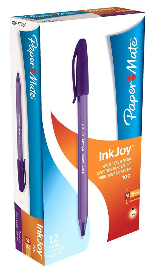 Paper Mate InkJoy 100 CAP Ball Pen Medium Tip Purple PK12