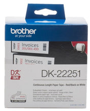 Load image into Gallery viewer, Brother DK22251 Continuous Paper Roll Red Black 62mmx15m