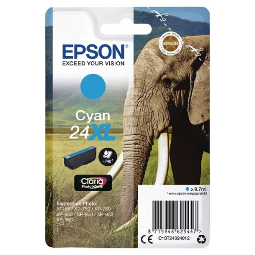 Epson C13T24324012 24XL Cyan Ink 9ml