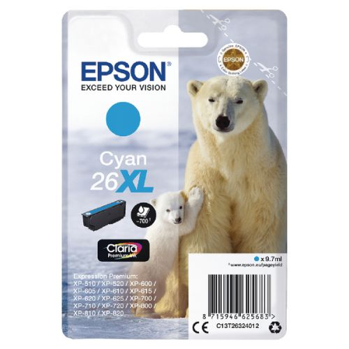 Epson C13T26324012 26XL Cyan Ink 10ml
