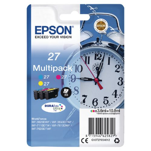 Epson C13T27054012 27 Colour Ink 3x4ml Multipack