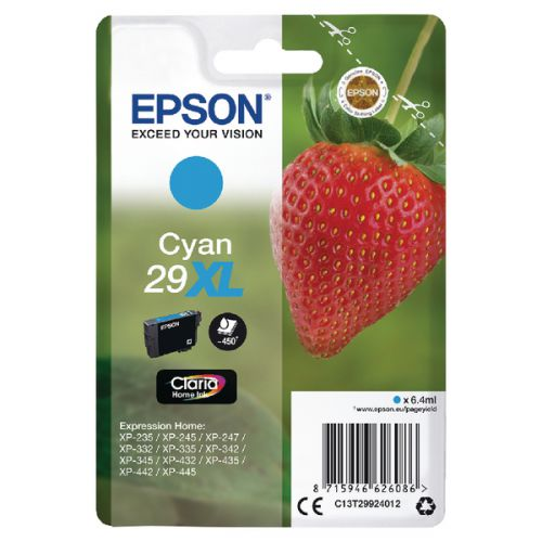 Epson C13T29924012 29XL Cyan Ink 6ml
