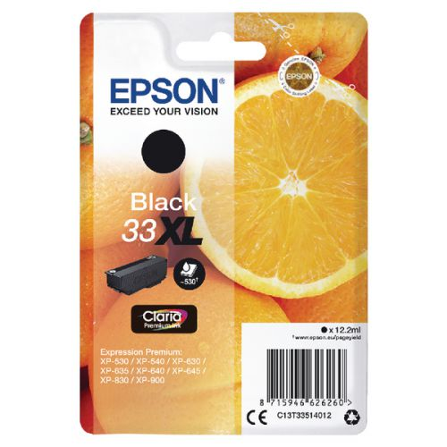 Epson C13T33514012 33XL Black Ink 12ml