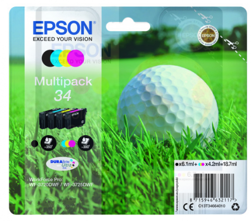 Epson C13T34664010 34 Black Colour Ink 6ml 3x4ml Multipack