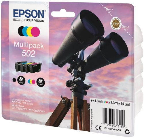 Epson C13T02V64010 502 Black Colour Ink 14.5ml Mutipack