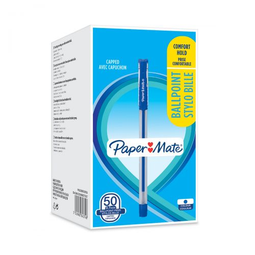 Paper Mate Ballpoint Grip 0.7mm Pen Blue PK50