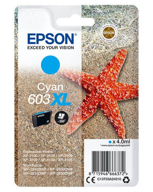 Epson C13T03A24010 603XL Cyan Ink 4ml
