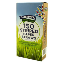 Load image into Gallery viewer, Enviro Paper straws Striped pk 150
