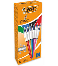 Load image into Gallery viewer, BIC 4 Colour Shine Assorted Body 1.0mm Point 0.4mm Nib PK12