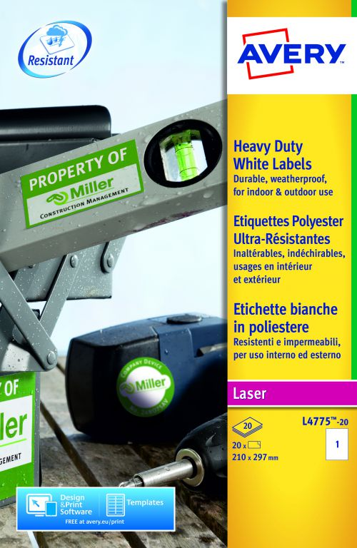 Avery Heavy Duty Labels 210x297mm WH L4775-20 1 p/sht PK20