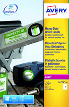 Load image into Gallery viewer, Avery Heavy Duty Labels 210x297mm WH L4775-20 1 p/sht PK20