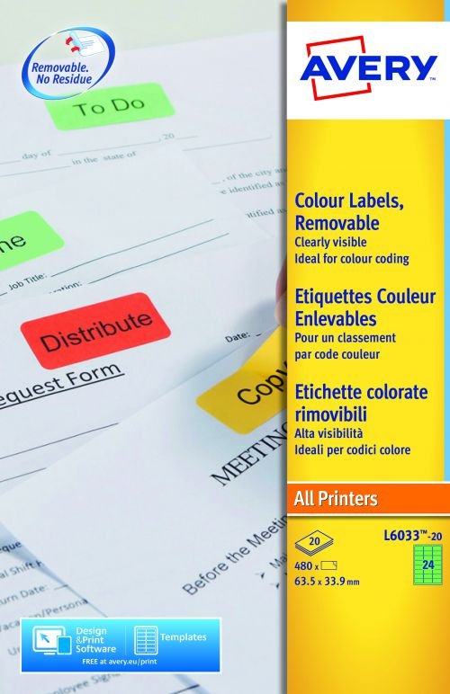 Avery Coloured Labels 63.5x34mm GN L6033-20 24 p/sht PK480