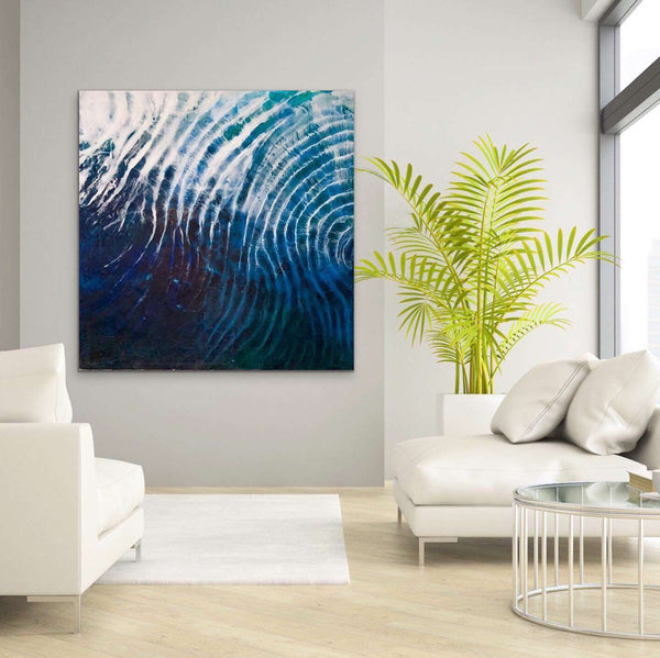large abstract art ocean on wall