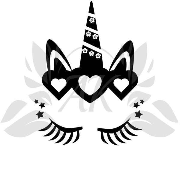 Unicorn Face Black SVG Digital Download