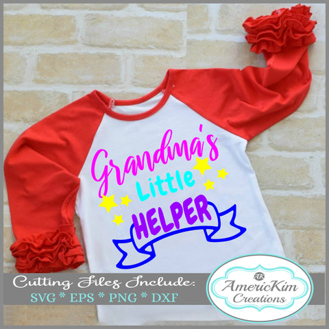 Grandma's Little Helper with Banner SVG Digital Downloads