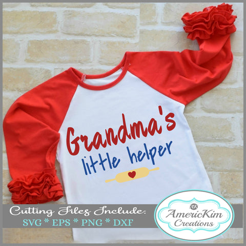 Grandma's Little Helper with Chef with Rolling Pin SVG Digital Downloads