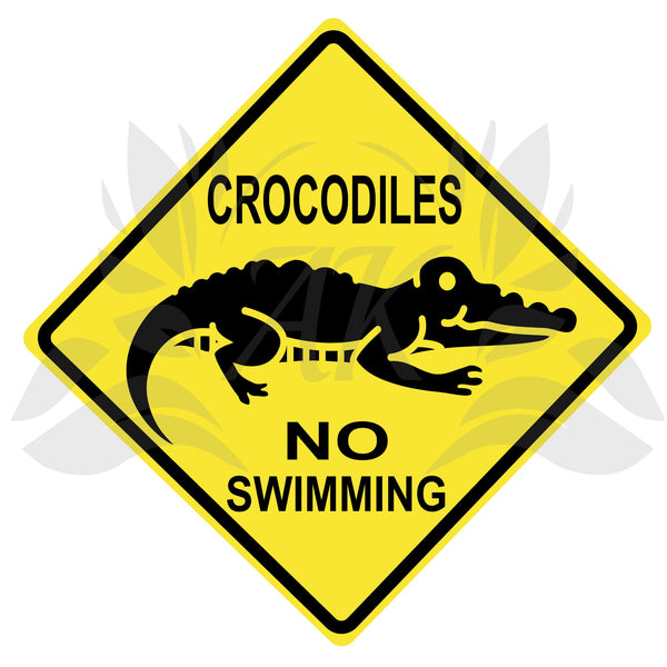 Crocodiles No Swimming Road Sign SVG Cutting File