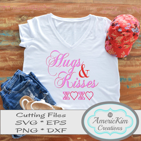 Hugs and Kisses SVG File with Free Game Board Digital Downloads