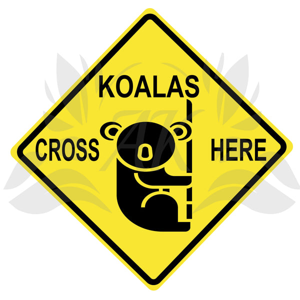 Koalas Cross Here Road Sign SVG Cutting File