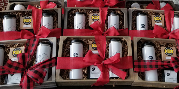 Christmas Gift Box - 2 Personalized 14oz Travel Mugs, Caramels, Coffee    LOCAL PICKUP/DELIVERY ONLY