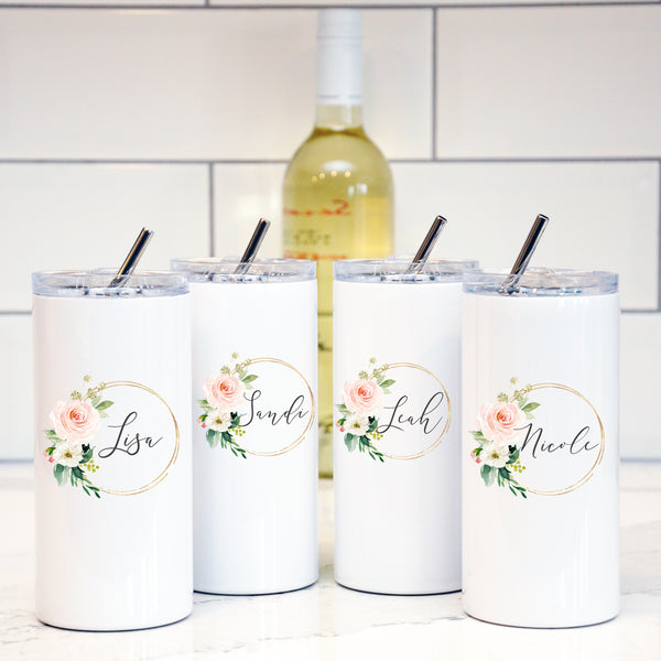 Personalized Tumblers with Straw - Gold Blush Floral arrangement